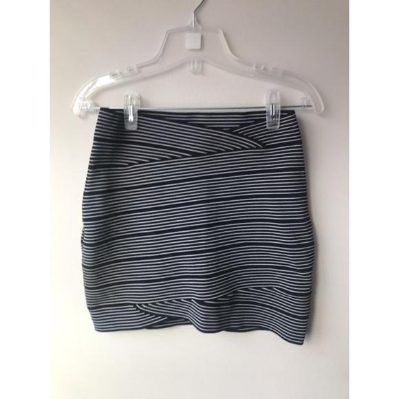 0d04dbcc4 BCBGMaxAzria Skirts | Bcbg Fold Over Tight Striped Pencil Mini Skirt ...